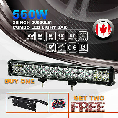 20inch 7D 560W Philips LED Light Bar Flood Spot Beam + Lisence Plate Frame Mount