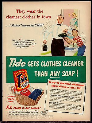 1951 TIDE Laundry Soap Vintage AD Dad off to work w/lunch box