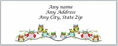 30 Personalized Address Labels Cute Owls Buy 3 get 1 free (ac 548)