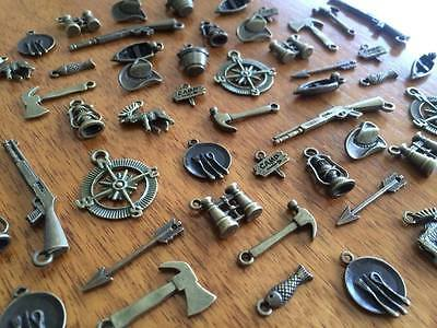 1-100 Bronze Camping Hunting Fishing Charms for Scrapbooking & Cardmaking