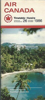 Airline Timetable - Air Canada - 26/10/86 - Dominican Republic cover