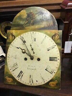 Antique English Painted Dial Longcase Grandfather Clock Movement 1830 1840.