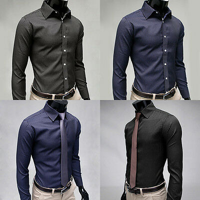 Luxury Men Formal Shirt Long Sleeve Slim Fit Business Dress Shirts Solid Cotton