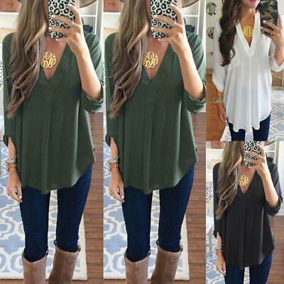 Women Blouse Chiffon Long Sleeve Ladies T Shirt Casual Loose Short Dress Top LOT
