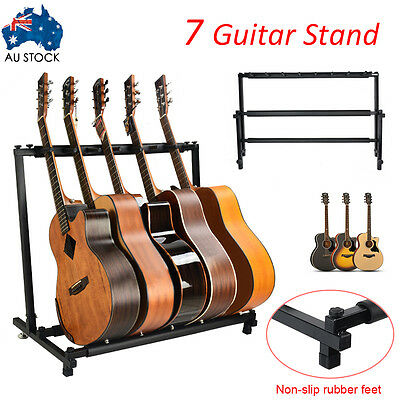 7 Guitars Bass Acoustic Stand Storage Display Folding Padded Rack Stylish New