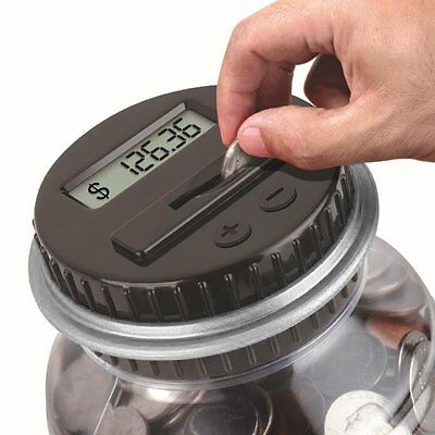 Electronic Digital Coin Counter Money Counting Jar Saving Piggy Bank Xmas Gift