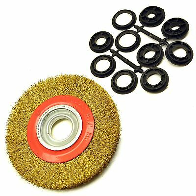 "Steel Wire Wheel / Brush with shaft adapters for 6"" and 8"" Bench Grinders TE01"