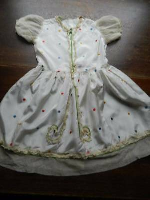 Girl's vintage 1930's embroider satin dress lace detail 6-7yr  Shirley Temple