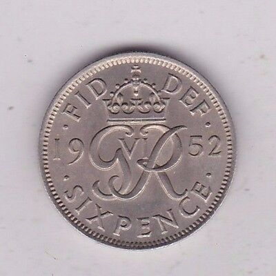 1952 George Vi Sixpence In Extremely Fine Condition