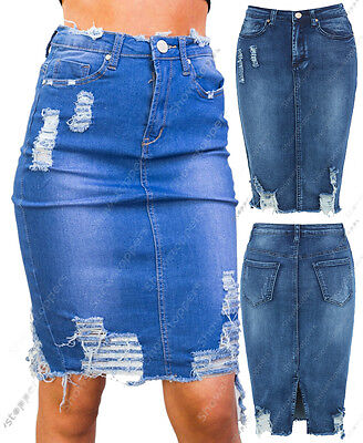 New Women Distressed Denim Pencil Stretch Jean Skirt Rip Blue Size 8 10 12 14
