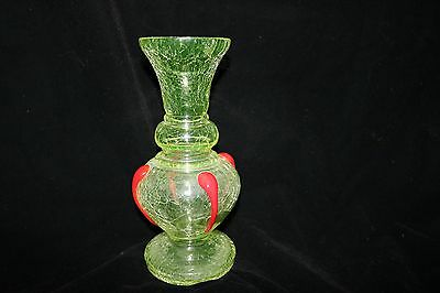 49S Czech Kralic Crackle Glass Vaseline Applied Red Accented Vase!