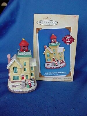 2004 HALLMARK LIGHTHOUSE Greetings MAGIC CHRISTMAS ORNAMENT LIGHTS UP! w BOX PT