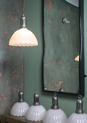 Large Jefferson Milk Glass Fluted Pendants Lights Industrial Antique Salvage