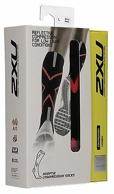 2XU Women's Hyoptik Compression Socks, Black/Pink, Large