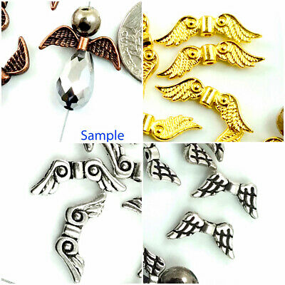 Christmas Double-Sided Angel wing Silver Copper Gold Findings Charms Jewelry