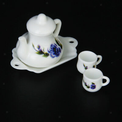 12th Dollhouse Miniature Floral Print Tea Set A Teapot w Saucer And Two Cups