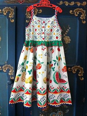 "VINTAGE 80s CLOTHKITS GIRLS SUN DRESS AGE 8 9 10 TUTTI FRUITY 28"" CHEST"
