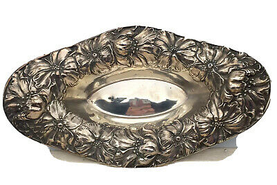 """Unger Sterling ~ POPPIES REPOUSSE BOWL ~ 12-1/2"""" Long"""