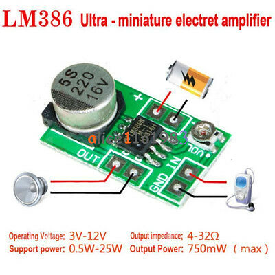 Mini LM386 DC 3-12V Micro Audio Power Amplifier Amp Board Module 750mW New