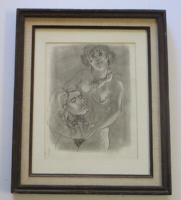 Signed 1950's Vintage Expressionism Abstract Surreal Head On Plate Portrait Nude