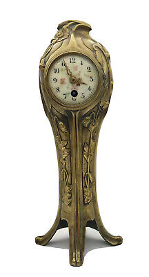 "Art Nouveau ~ GILT BRONZE CLOCK ~ Signed ""Lesucier"""