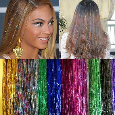 Strands Hair Tinsel Sparkle Holographic Glitter Extensions Highlights Party