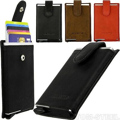 figuretta, Credit, Cards, Case, Slim, Wallet, Aluminium, Leather, Purse, NEW