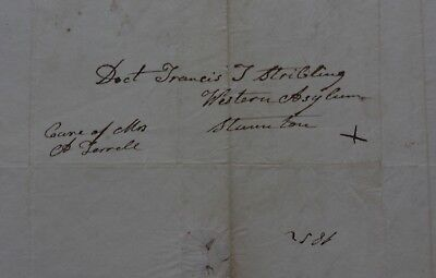 1852 WESTERN LUNATIC ASYLUM w ADDRESS COVER - Inquires About Daughter