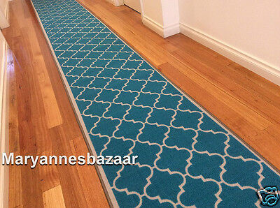 Hallway Runner Hall Runner Rug 240cm Long Modern Turquoise FREE DELIVERY 74892