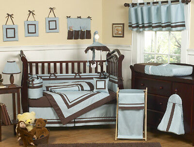Modern Blue and Brown Boutique Baby Crib Bedding Set for Newborn Boy Sweet Jojo