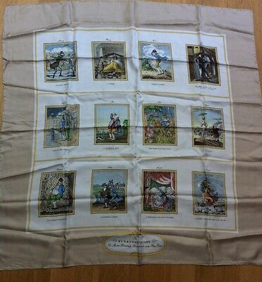 Vintage Burberry Silk Scarf The Diary Illustrated With Rare 18th Century Prints