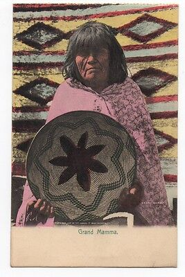 1910 Color Postcard by Rieder of Indian Basket & Rug Weaver from Arizona