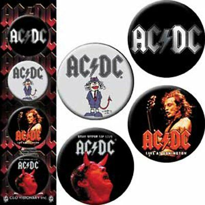 Button - AC/DC - Sign Logo Set of 4 Pin Pack Toys New