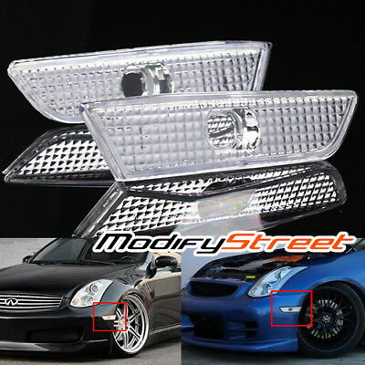 For 03-07 Infiniti G35 Coupe Euro Clear Side Marker Lights Bumper Fender Lamps