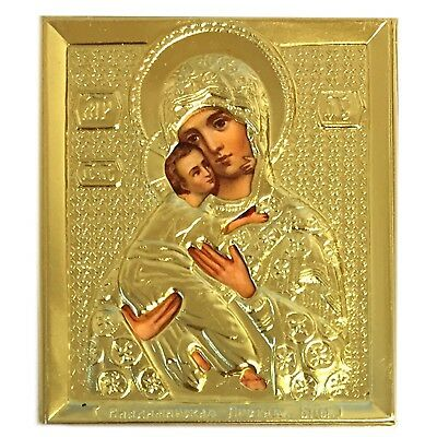 Virgin of Vladimir Madonna With Child Christ Icon Gold Tone 2 3/4 Inch