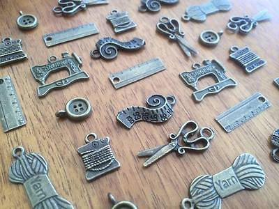 10-100 Vintage Bronze Sewing Charms for Scrapbooking & Cardmaking