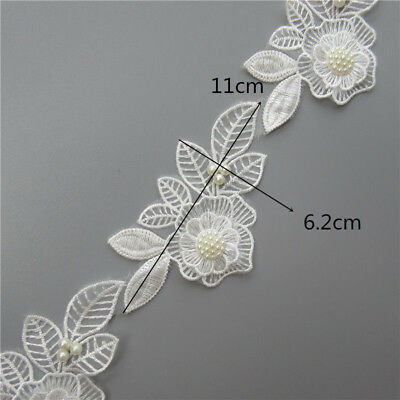 5x Flower Pearl Lace Edge Trim Wedding Ribbon Embroidered Applique Sewing Craft