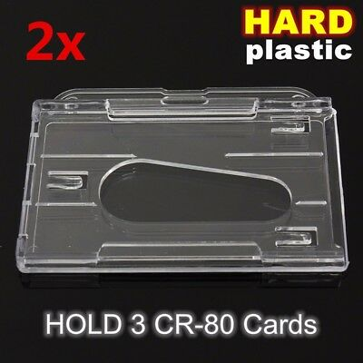 2X Hard Durable Transparent Horizontal ID Card Holder Clear Badge Cover Case