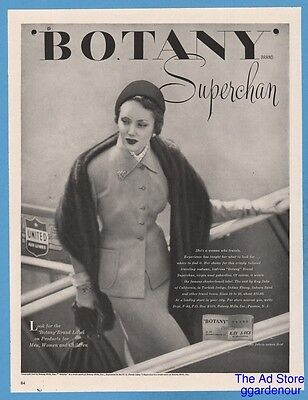 1948 Botany Mills Passaic NJ Kay Saks of California Fashion United Airlines Ad