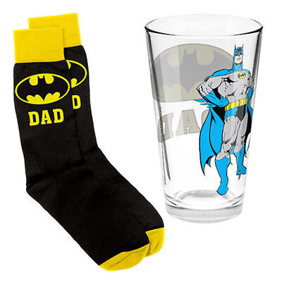 Batman Logo Glass and Socks Dad Logo Gift Pack