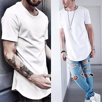 Men's Basic Extended Long T- Shirt Elongated Tee Fashion Casual Loose Crew Neck