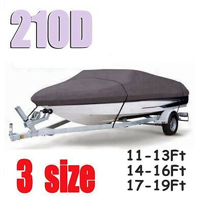 "Heavy Duty Trailerable Fishing Boat Cover 11ft-13ft 14""-16""17ft-19Ft V-Hull 210D"