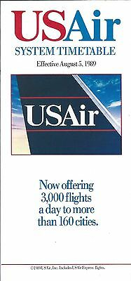 Airline Timetable - US Air - 05/08/89
