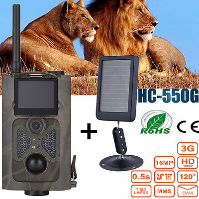 HC-550G 16MP Infrared 3G MMS SMS SMTP GPRS Trail Hunting Camera + Solar Battery