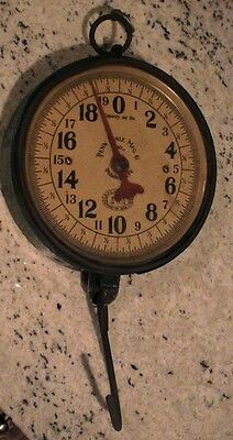 VINTAGE ANTIQUE PENN SCALE CO DOUBLE SIDED GLASS FACE HANGING  SCALE 40 lb
