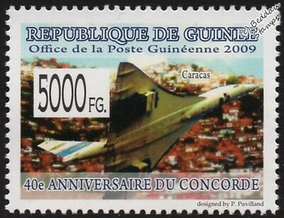 Air France CONCORDE (Caracas) Supersonic Airliner Aircraft Stamp (2009 Guinea)