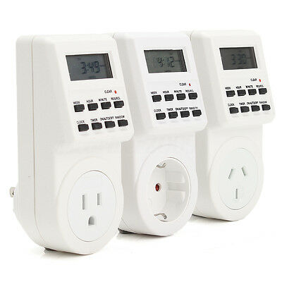 Digital Electronic US/EU/AU Plug-in Programmable 12/24 Hour Timer Switch Socket