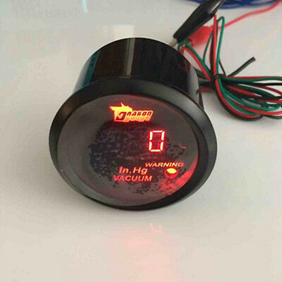 "2"" 52mm Black Car Motor Digital Red LED Light Vacuum Gauge Meter"