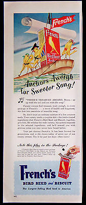 Vintage 1949 French's Bird Seed and Biscuit Food Magazine Ad Anchors Aweigh