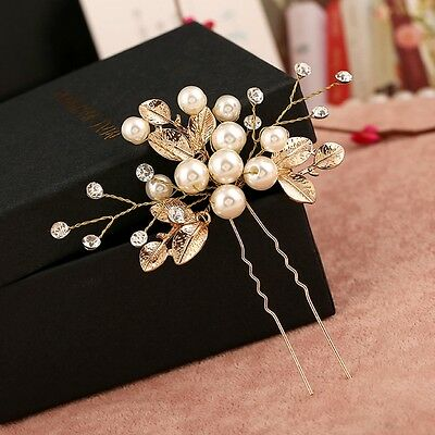 Vintage Wedding Bridal Flower Faux Pearl Hair Pins Bridesmaid Clip Side Combs